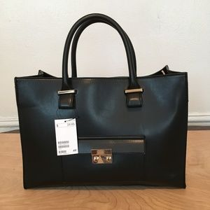 New H&M Black Gold Satchel Purse Bag Handbag hm